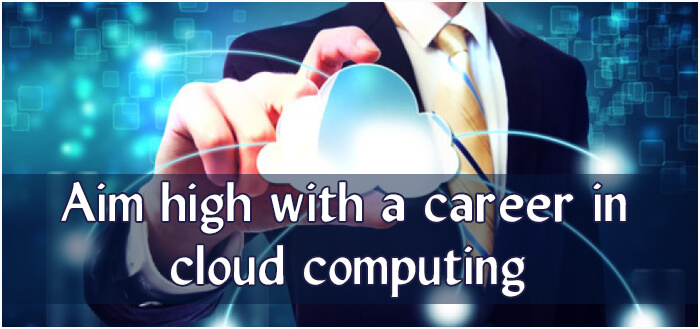 A close view of a man holding Cloud like model to represent Cloud Computing, there is a text below as Aim higher with a Career in Cloud Computing